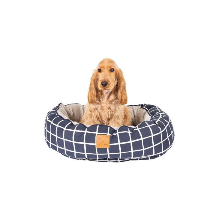 Mog & Bone 4 Seasons Circular Dog Bed Navy Check Small