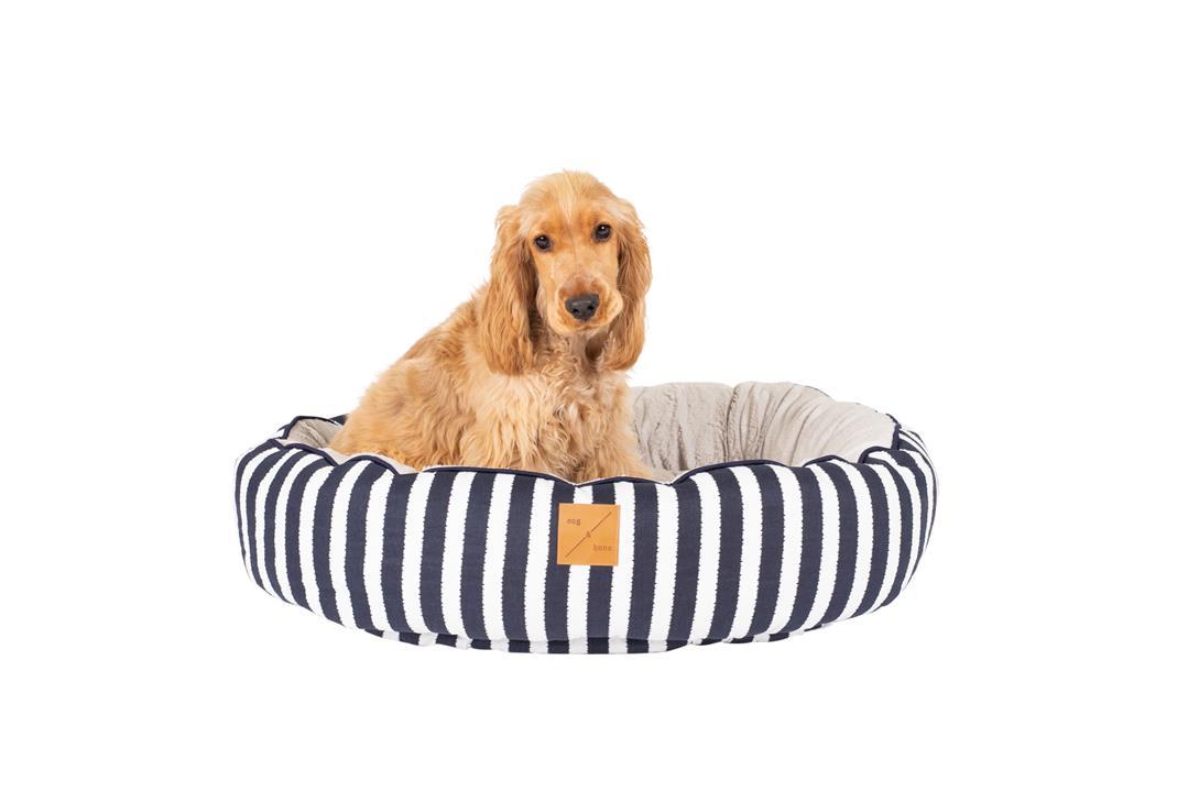 Mog & Bone 4 Seasons Circular Dog Bed Navy Hamptons Medium