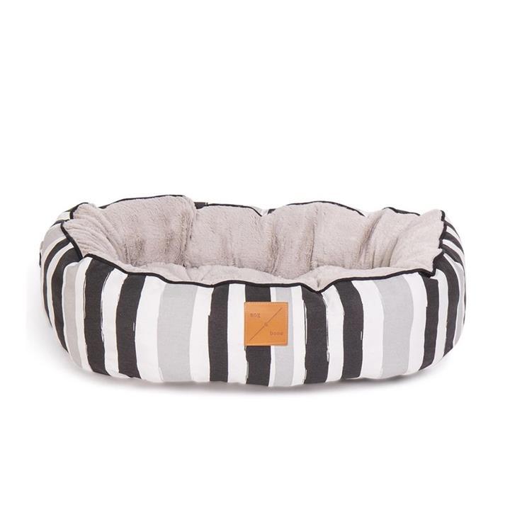 Mog & Bone 4 Seasons Circular Dog Bed Pebble Black Brush Small