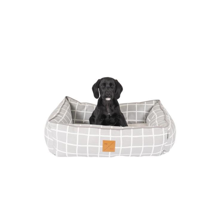 Mog & Bone Bolster Bed Grey Check