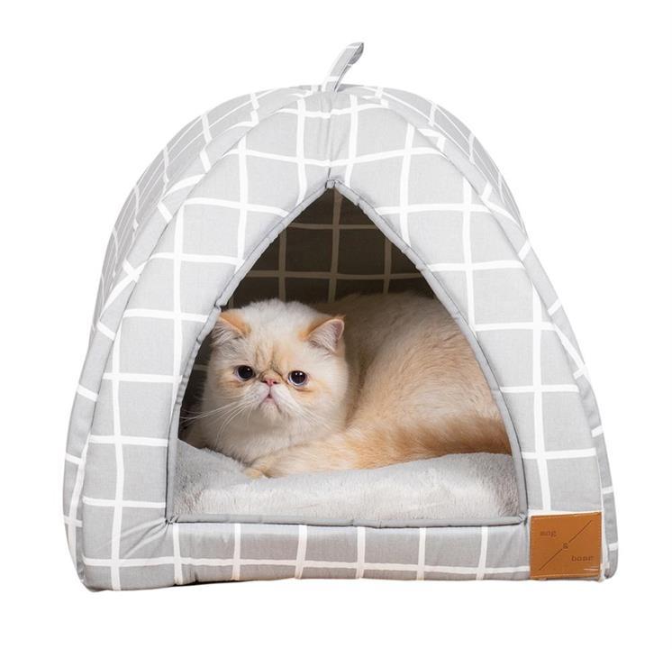 Mog & Bone Cat Igloo Grey Check
