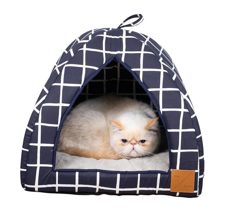 Mog & Bone Cat Igloo Navy Check