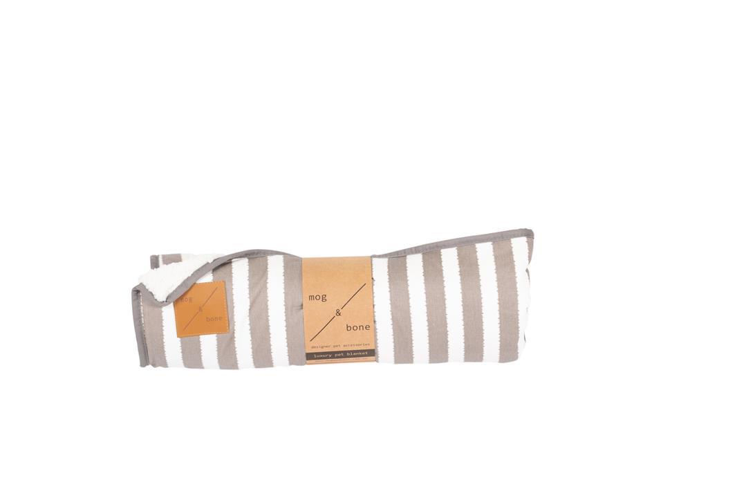 Mog & Bone Designer Fleece Blanket Latte Hamptons Stripe