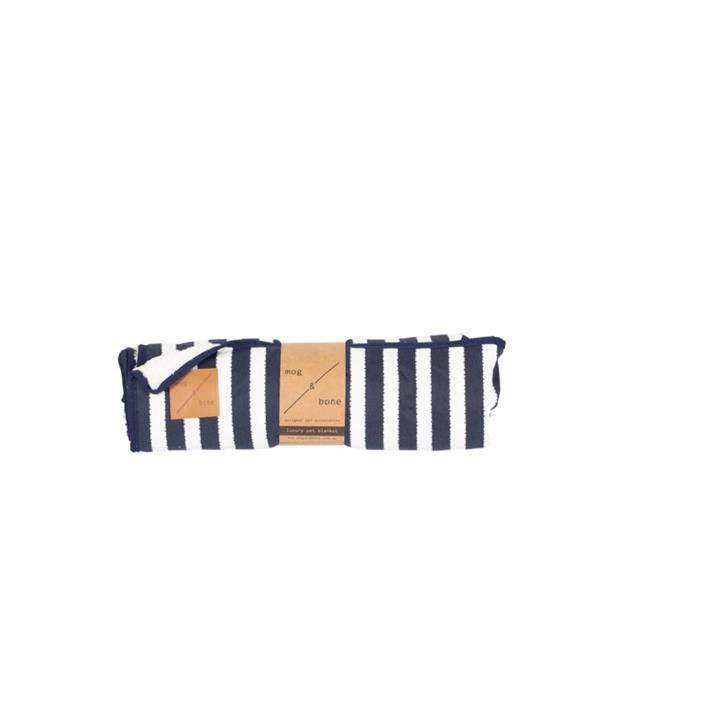 Mog & Bone Designer Fleece Blanket Navy Hamptons Stripe