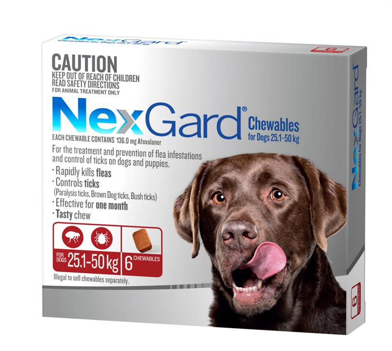 NEXGARD FOR DOGS 25.1-50KG - Red 6 Pack