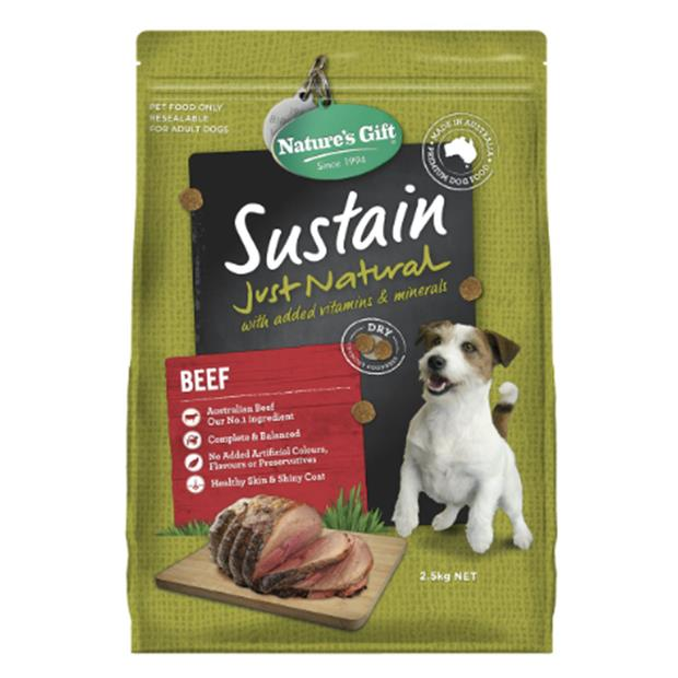 Natures Gift Dry Dog Food Adult Sustain Beef 4 X 2.5kg