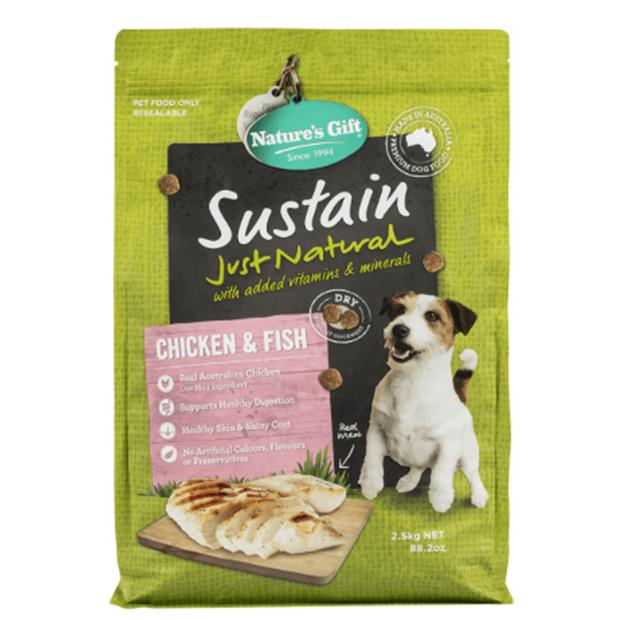 Natures Gift Dry Dog Food Adult Sustain Chicken And Fish 4 X 2.5kg