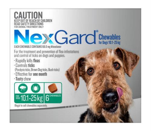 NexGard Medium 10 - 25kg Green 6 pack