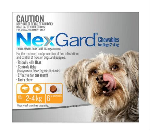 NexGard Very Small 2-4kg Orange 6 pack