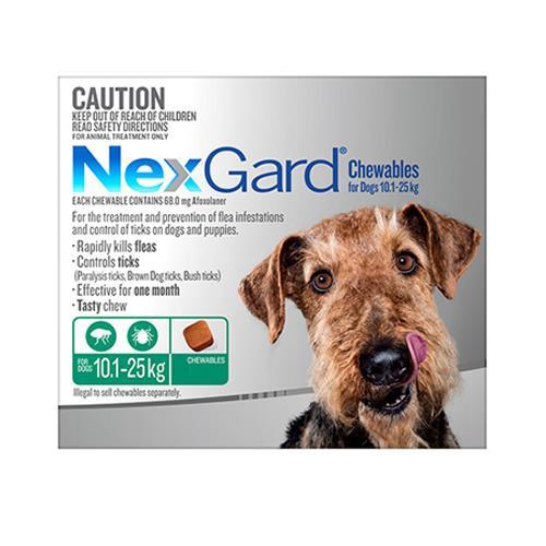 Nexgard Dogs 10.1-25Kg Green 12 Chews