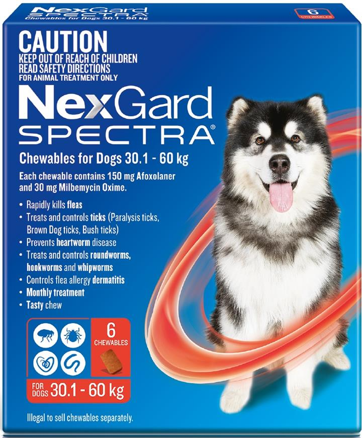 Nexgard Spectra Red For Very Large Dogs 30.1-60kg 6 Pack