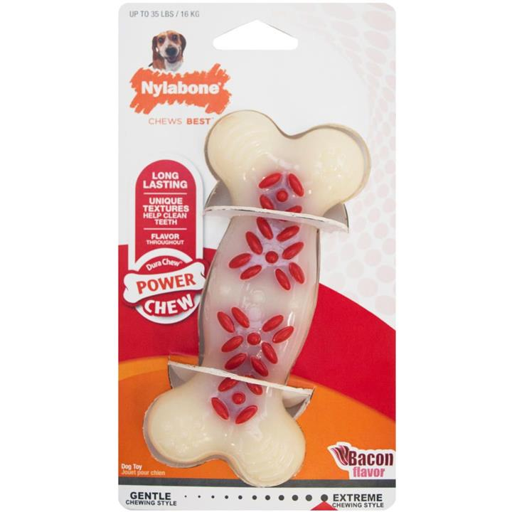 Nylabone Dog Chew Power Action Ridges Bacon Wolf