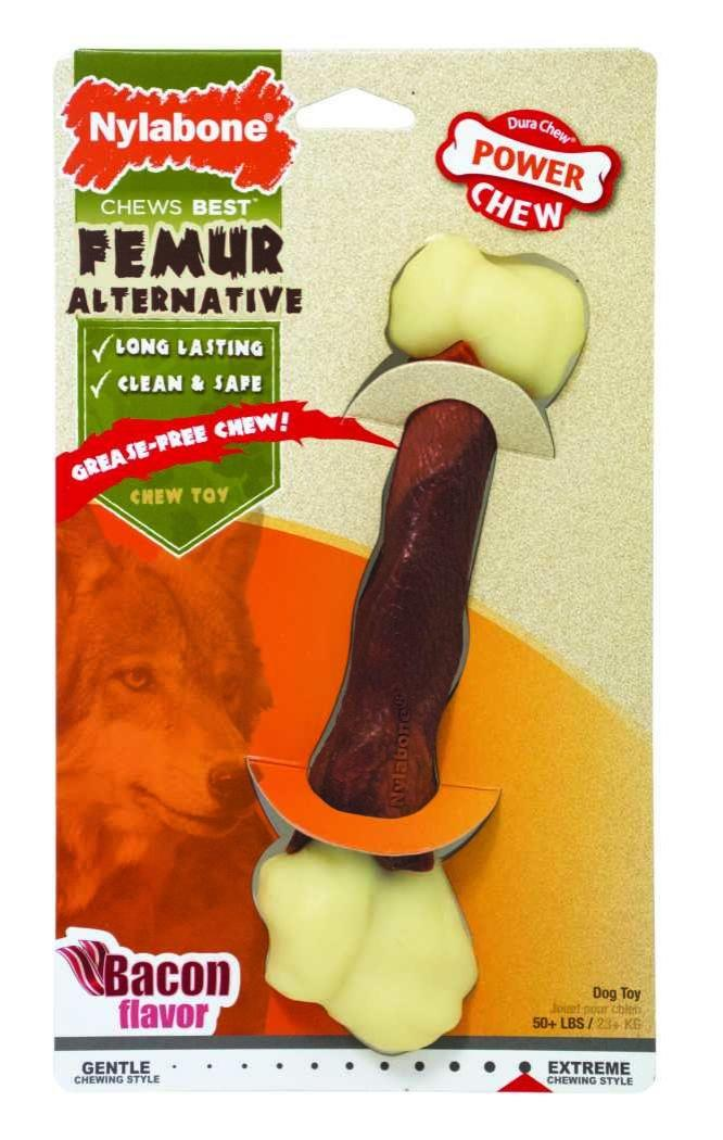 Nylabone Dog Chew Power Femur Bone Alternative Bacon Large