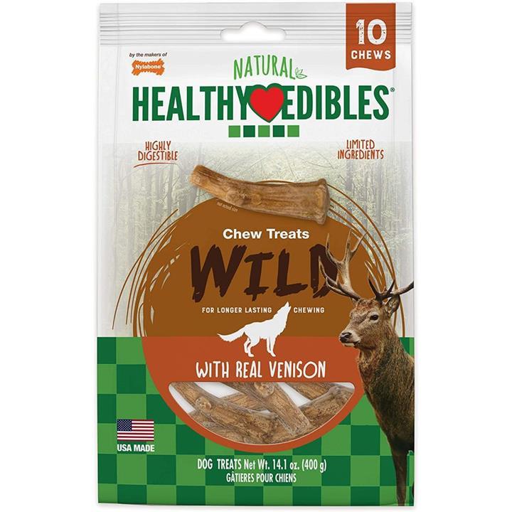 Nylabone Natural Healthy Edibles Venison Antler Dog Treat Medium 10 Pack