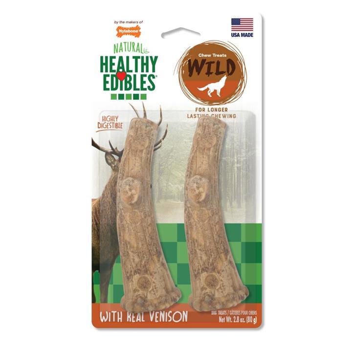 Nylabone Natural Healthy Edibles Venison Antler Dog Treat Medium 2 Pack