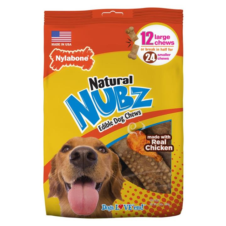 Nylabone Natural Nubz Chicken & Bacon Large Dog Chews 12 Pack