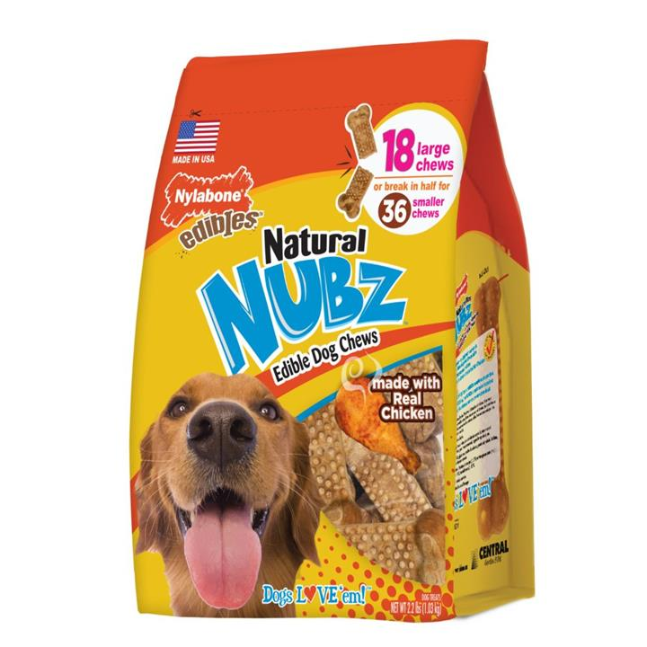 Nylabone Natural Nubz Chicken & Bacon Large Dog Chews 18 Pack