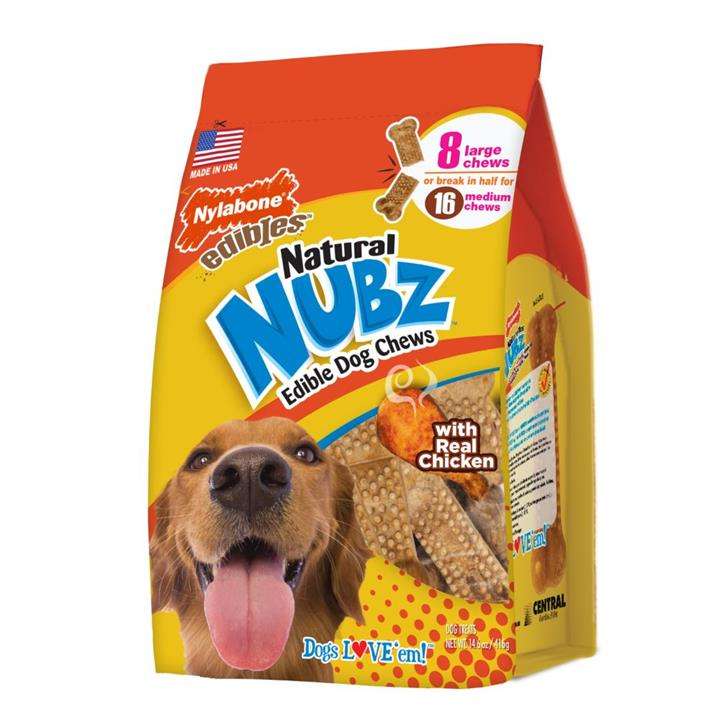 Nylabone Natural Nubz Chicken & Bacon Large Dog Chews 8 Pack