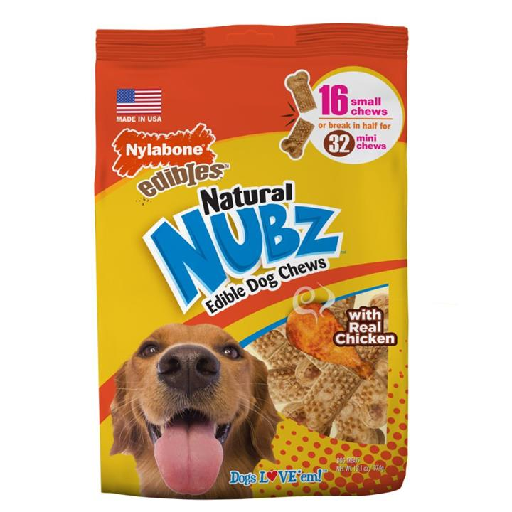 Nylabone Natural Nubz Chicken & Bacon Small Dog Chews 16 Pack