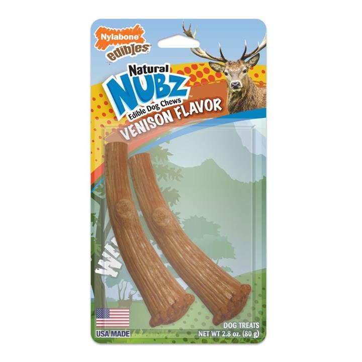 Nylabone Natural Nubz Venison Antlers Dog Treat Medium 2 Pack