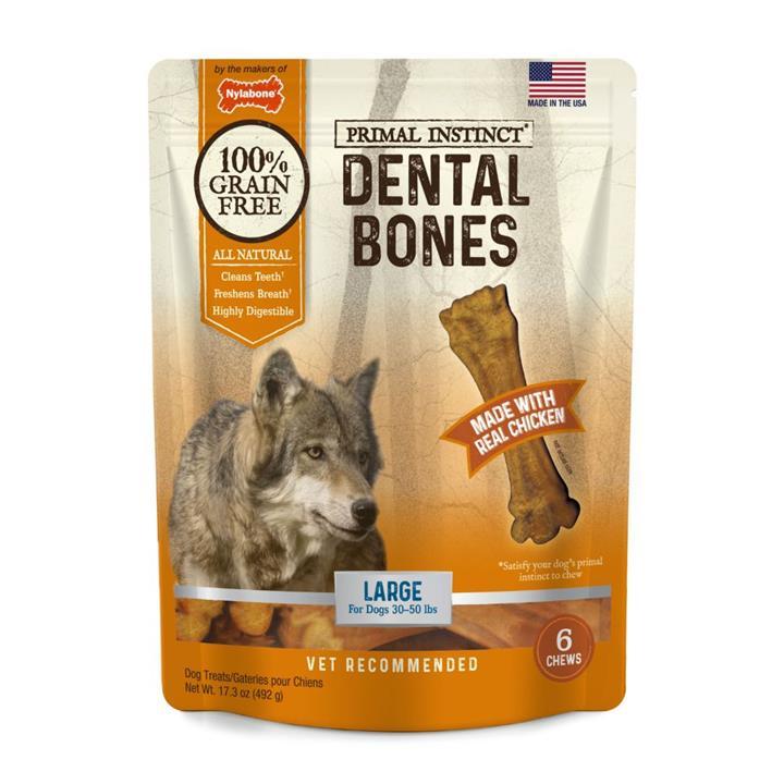 Nylabone Primal Instinct Chicken Dental Bone Dog Treat Large 6 Pack