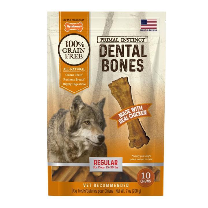 Nylabone Primal Instinct Chicken Dental Bone Dog Treat Regular 10 Pack