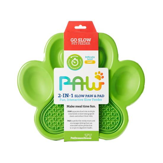 PAW 2-in-1 Slow Feeder & Anti-Anxiety Food Lick Pad for Cats & Dogs - Green