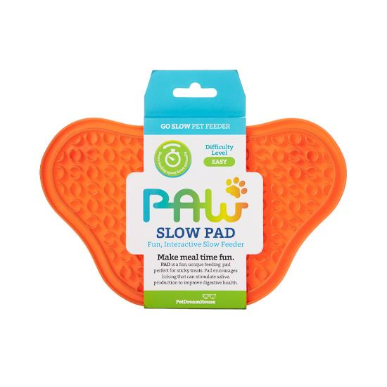 PAW Lick Pad Slow Feeder & Anti-Anxiety Food Mat for Cats & Dogs - Orange