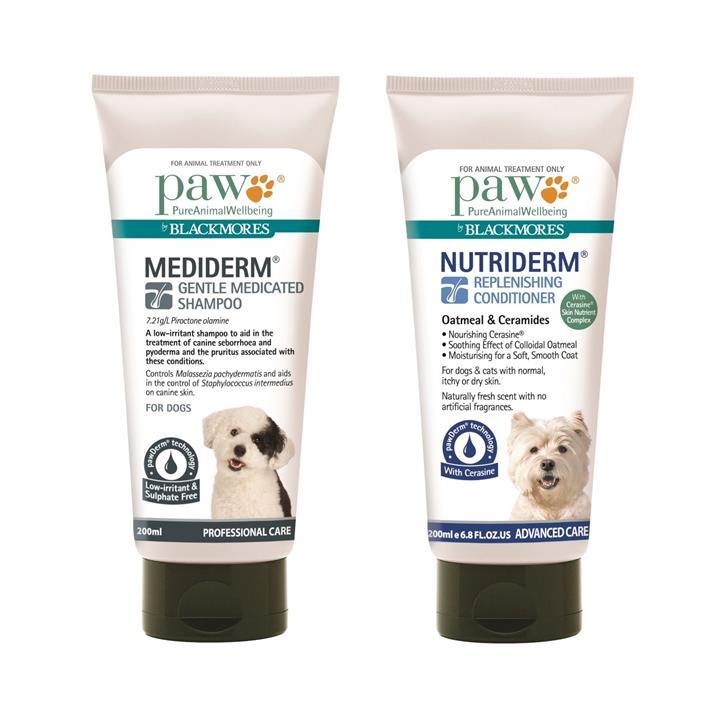 PAW by Blackmores 200ml Mediderm Shampoo & 200ml Nutriderm Conditioner pack