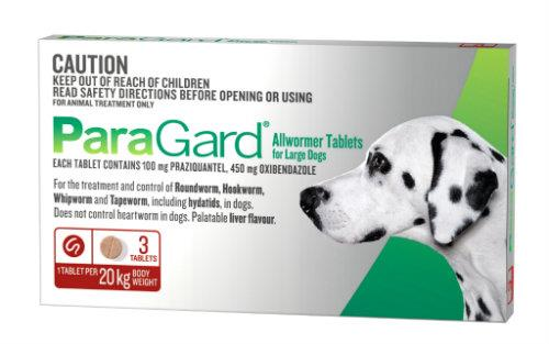 Paragard Allwormer Large Dog up to 20kg Red 3 pack