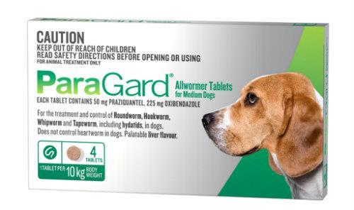 Paragard Allwormer Medium Dog up to 10kg Green 4 pack
