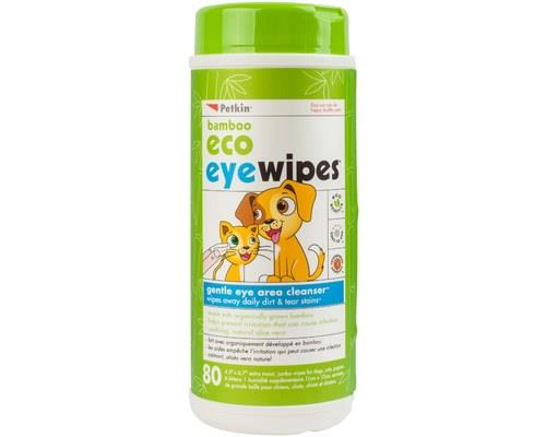 Petkin Bamboo Eco Eye Wipes For Dogs/cats 80pk