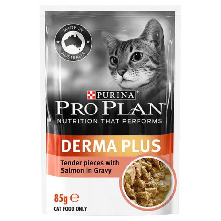 Pro Plan Adult Derma Plus Salmon Cat Food Pouches 12x85g
