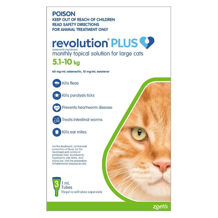 Revolution PLUS Flea, Worm & Tick Topical Prevention for Large Cats 5.1-10kg - 3-Pack