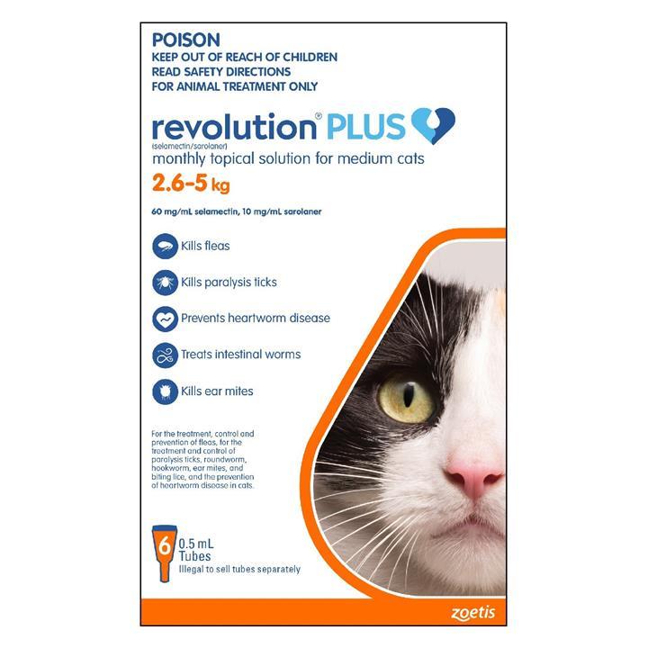 Revolution PLUS Flea, Worm & Tick Topical Prevention for Medium Cats 2.6-5kg - 6-Pack