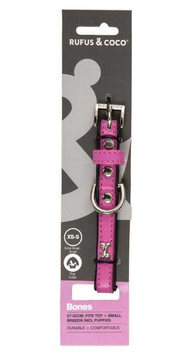 Rufus & Coco Bones Dog Collar Pink Extra Small