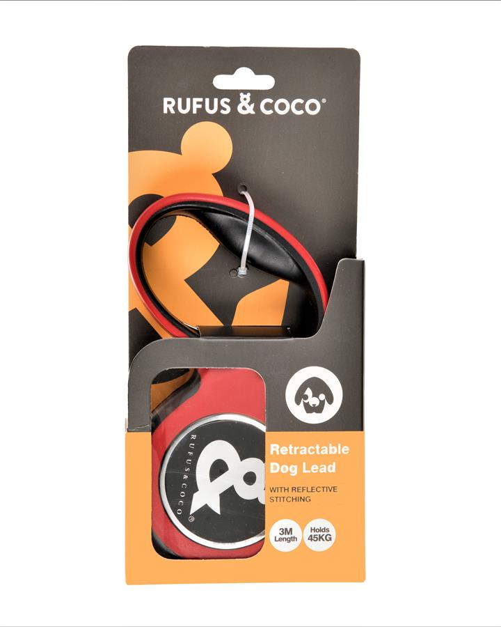 Rufus & Coco Retractable Dog Lead Large Red