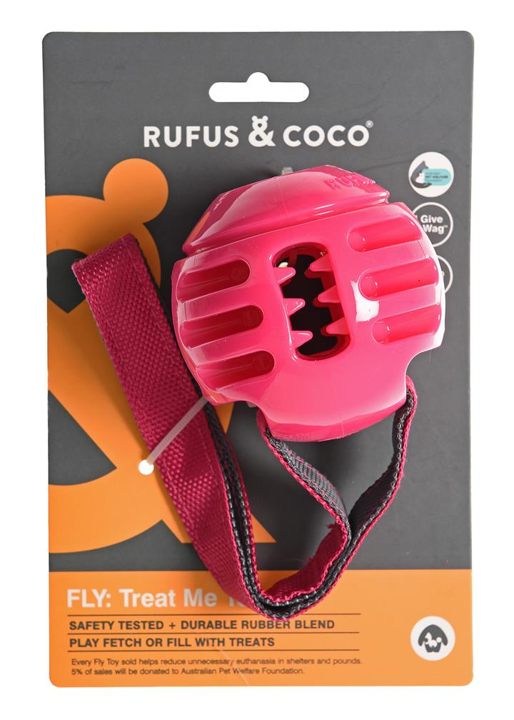 Rufus & Coco Treat Me Fly Dog Toy Pink