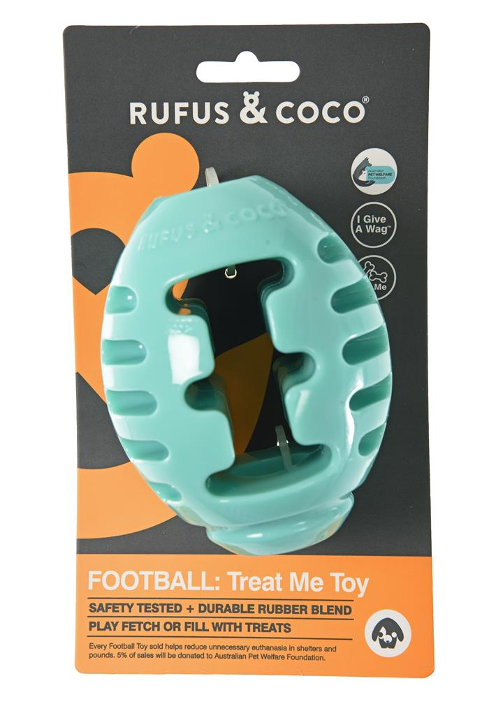Rufus & Coco Treat Me Football Dog Toy Aqua