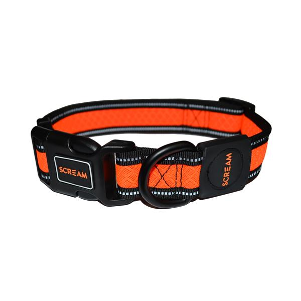 Scream Reflective Adjustable Collar Orange Small