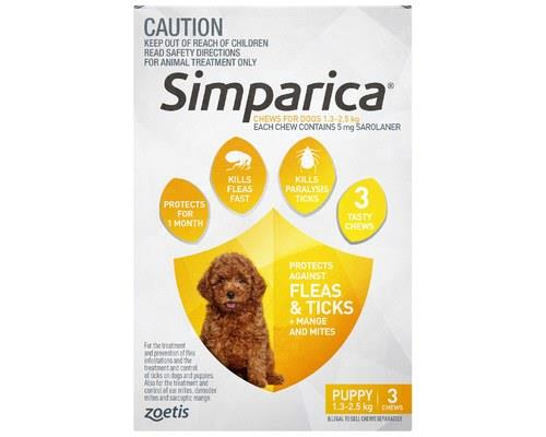 Simparica 1.3-2.5kg 5mg 3 Pack (yellow)