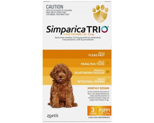 Simparica Trio 1.3-2.5kg Yellow 3 Pack