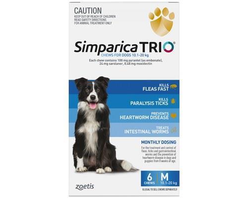Simparica Trio 10.1-20kg Blue 6pk