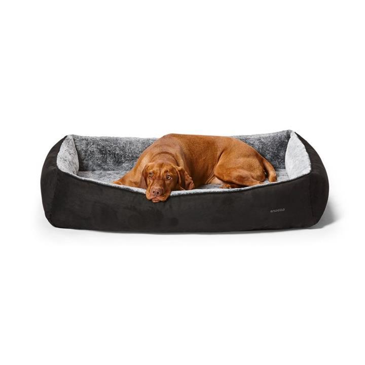 Snooza Snuggler Dog Bed Black Suede Medium