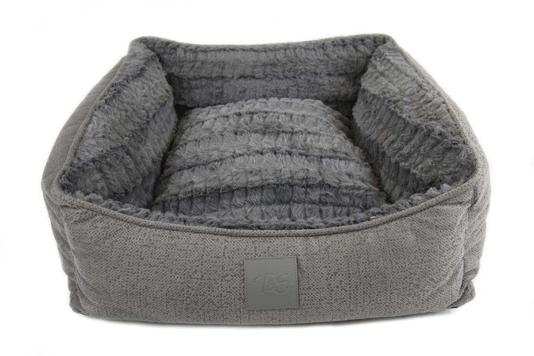 T & S Isleep Grey Plush Dog Bed