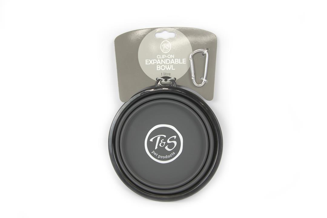 T & S Pop Out Collapsible Pet Bowl Grey