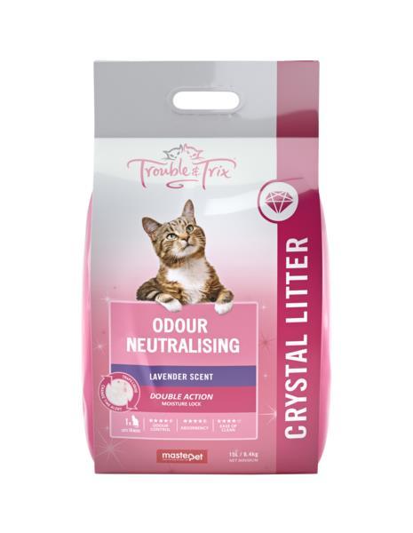Trouble & Trix Odour Neutralising Lavender Scent Litter Crystal 15L