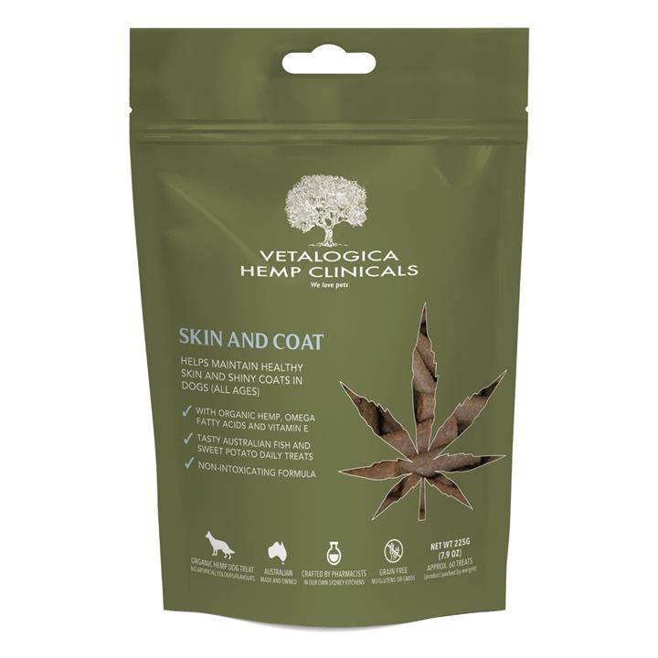 Vetalogica Hemp Clinicals Skin and Coat Dog Treats 225g