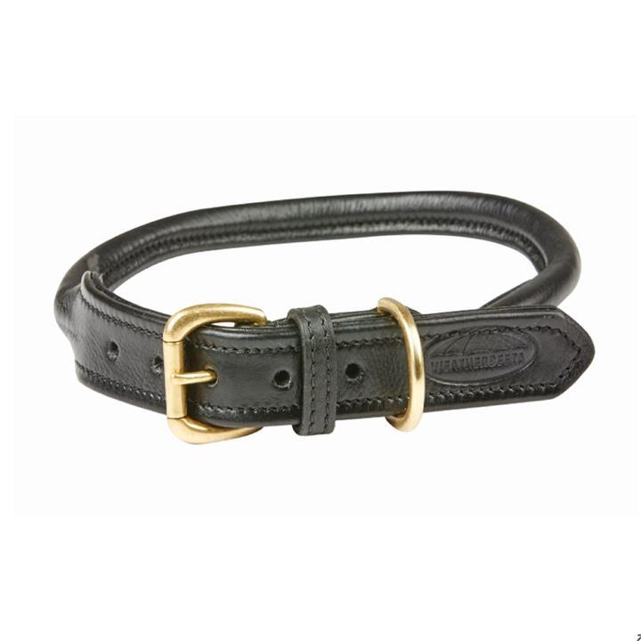 Weatherbeeta Dog Collar Rolled Leather Black