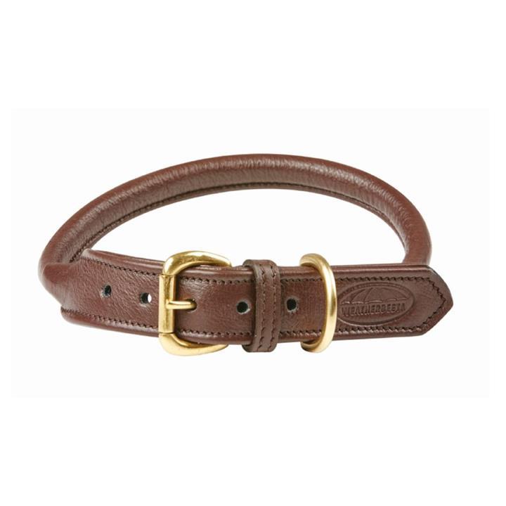 Weatherbeeta Dog Collar Rolled Leather Brown